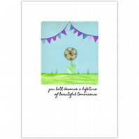 SALE - greetings card :: bunting blessing beautiful tomorrows (purple)
