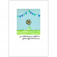SALE - greetings card :: bunting blessing beautiful tomorrows (blue)