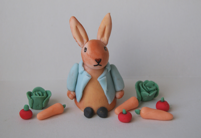 Handmade Peter Rabbit Cake Decoration Topper - Folksy