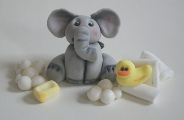 Baby Elephant Cake Decoration : Baby Bathtime Elephant Cake Decoration or Topper - Folksy