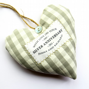 Personalised Silver Wedding Anniversary Heart - Choice of Fabric - Gift Boxed