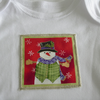 Christmas Snowman Long Sleeved Babygrow