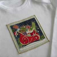 Christmas Santa's Sleigh Long Sleeved Babygrow
