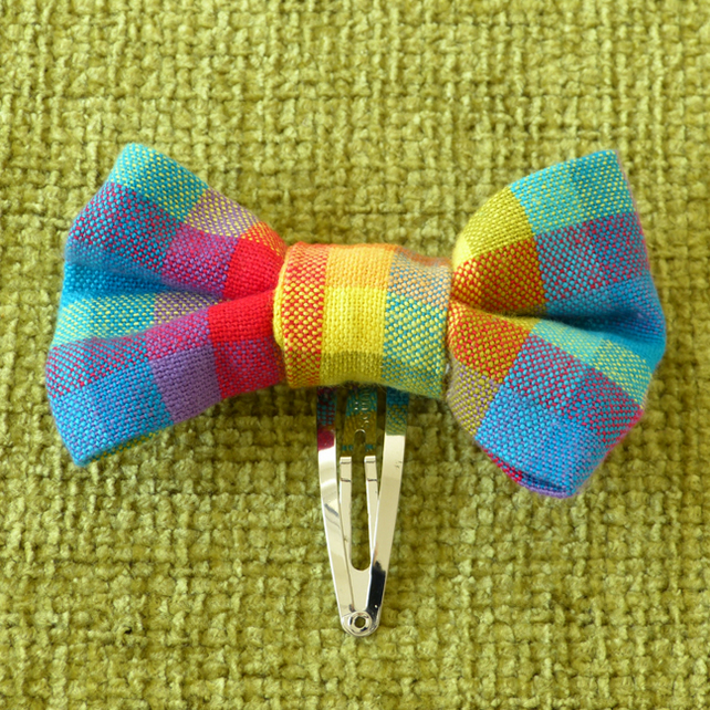 Rainbow Check Hair Bow