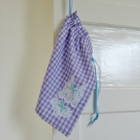 Lilac gingham smalls laundry bag