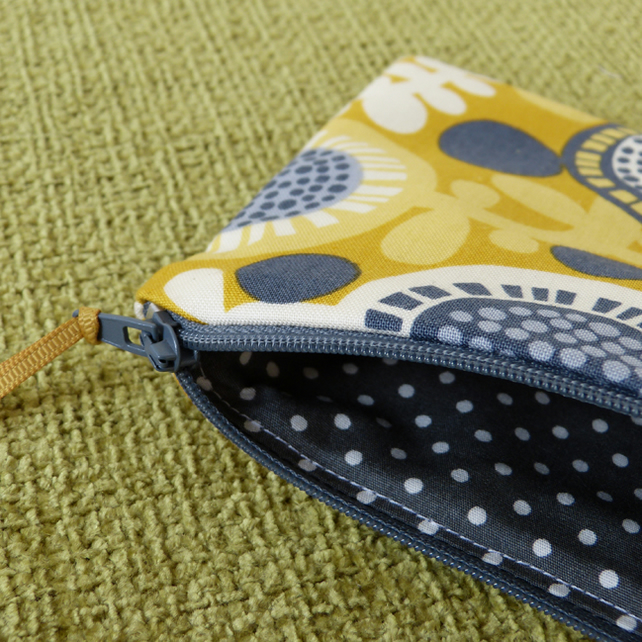 Yellow Floral and Polka Dot Purse