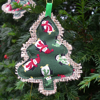 Penguin Hessian Christmas Tree Decoration