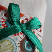 Hanging Orange & Teal 'Tea Bag' Lavender bag