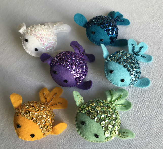 Sequinned felt fish brooch