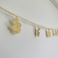 Butter yellow crocheted rabbit bunting
