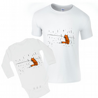 Matching daddy baby t-shirts, funny fox in the rain, hand painted shirts