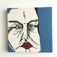 Abstract people painting, face art, home-warming gift, artistic painting