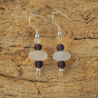 Sea glass earrings with purple beads