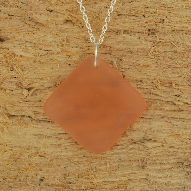 Peach beach glass pendant