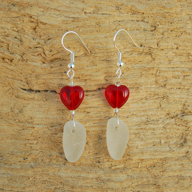 Sea glass earrings with red hearts