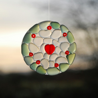 Little mosaic sun catcher with red heart
