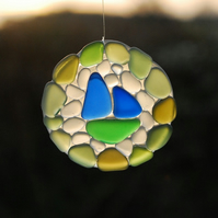 Recycled glass mosaic sun catcher with boat