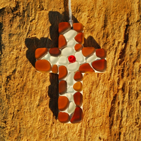 Small beach glass cross mosaic