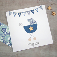 Personalised New Baby Boy Greeting Card