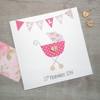 Personalised New Baby Girl Greeting Card