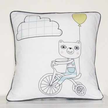 Blue Bears on Bikes cushion cover 30cm