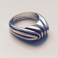 Chunky Silver and oxidised lined ring