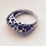 Chunky silver and oxidised bubble ring