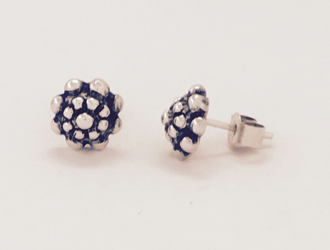 Silver and oxidised stud earrings