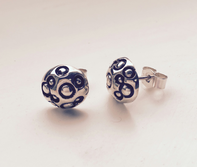 Silver moonscape Stud Earrings