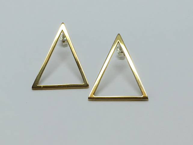 Triangle brass long earrings
