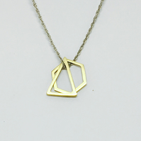 Brass triangle and hexagon shape pendant