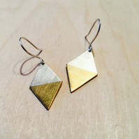 Silver and Brass Diamond Dangly Earrings