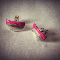 Silver Half Round Neon Pink Enamel Stud Earrings