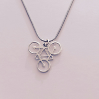 Silver Handpierced Cycling Pendant