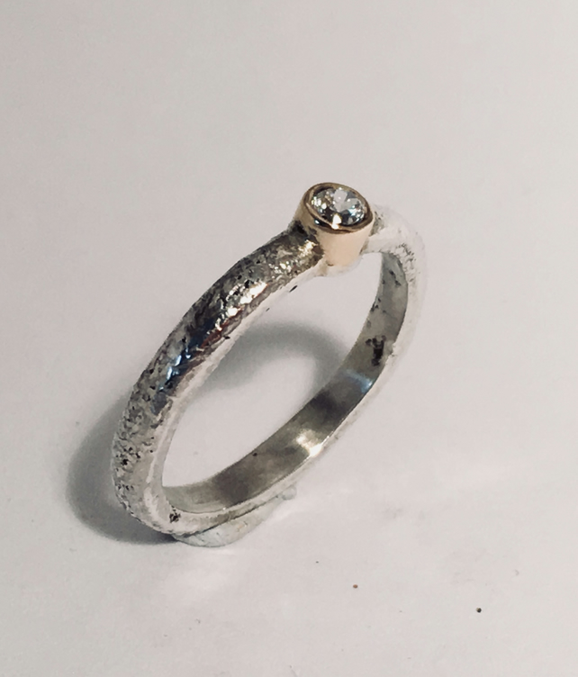 Silver, 9ct and Diamond Rustic Engagement Ring