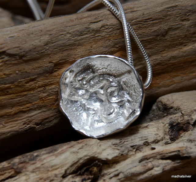 Hammered silver dome pendant with fused centre, flower jewellery