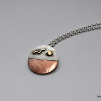 Silver and copper beach pendant, beach jewellery, coastal jewellery