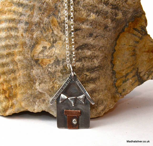 Silver, and copper beach hut pendant, silver house, beach house