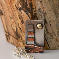 Silver and copper beach and lighthouse  pendant