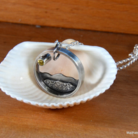Silver beach pendant with sparkly sun, beach jewellery, coastal jewellery