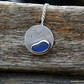 Silver beach pendant with blue seaglass, beach jewellery, coastal jewellery