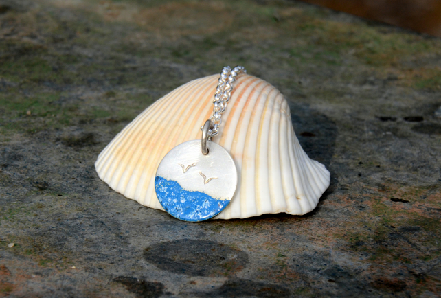 Silver beach pendant with blue sea and seagulls, beach jewellery