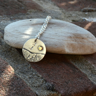 Silver beach, seaside pendant with seagull