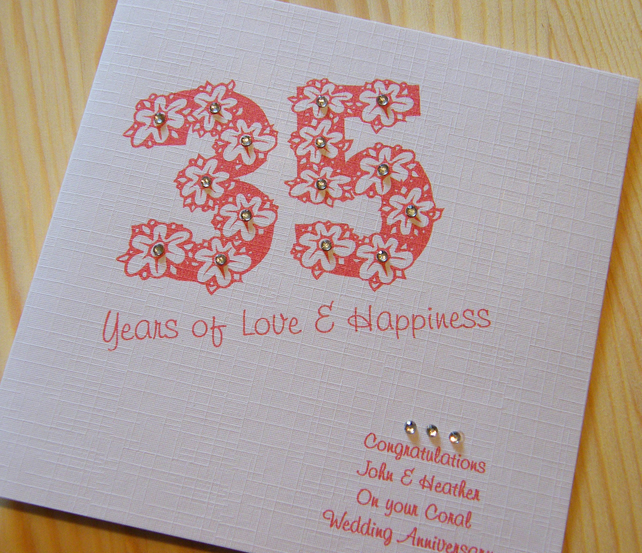 Gift Ideas For Parents 35th Wedding Anniversary : Handmade Card - Wedding Anniversary 35th Coral - personalised