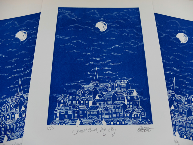 Small Town, Big Sky Whitby Yorkshire Blue Lino Print