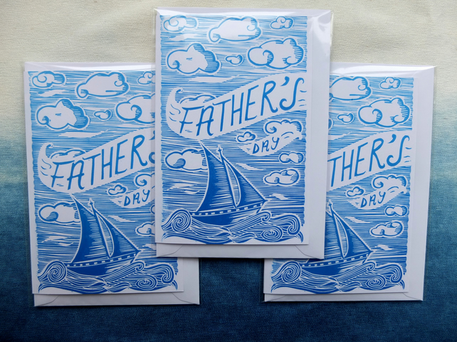 Hand Printed Father's Day card