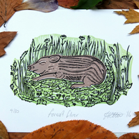 Forest Floor Wild Boar Pig Lino Print