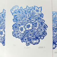 """In Bloom"" Blue Flowers Floral Lino Print"