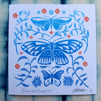 Botanical Butterflies Blue Spring Greetings Card