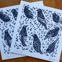 'Starlings' Birds Lino Print Greetings Card